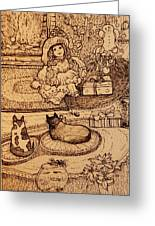 The Doll, The Kitties And The Gingerbread Boy Greeting Card