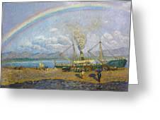 The Downpour. Santona Bay By Dario De Regoyos, 1900. Greeting Card
