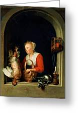 The Dutch Housewife Or The Woman Hanging A Cockerel In The Window 1650 Greeting Card