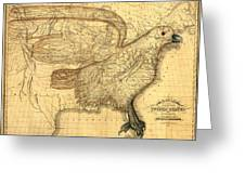 The Eagle Map Of The United States  Greeting Card