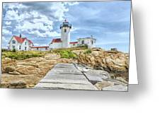 The Eastern Point Lighthouse In Gloucester Greeting Card