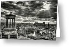 The Edinburgh Skyline, And Dugald Stewart Monument. Greeting Card