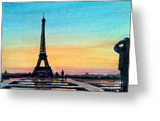 The Eiffel Tower At Sunset Greeting Card