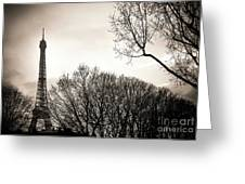 The Eiffel Tower In Backlighting. Paris. France. Europe. Greeting Card