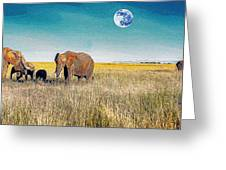 The Elephant Herd Greeting Card