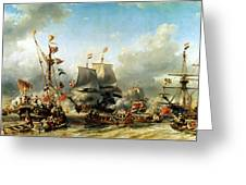 The Embarkation Of Ruyter And William De Witt In 1667 Greeting Card