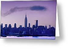 The Empire State Building In New York At 6 A. M. In January Greeting Card