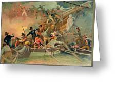 The English Navy Conquering A French Ship Near The Cape Camaro Greeting Card
