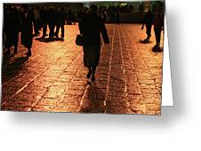 The Entrance To The Western Wall At Night Greeting Card