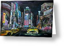 The Evening Of Time Square Greeting Card