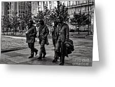 The Fab Four In Black And White Greeting Card