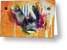 The Face At The Wall Greeting Card