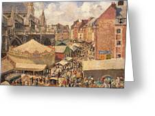 The Fair In Dieppe Greeting Card by Camille Pissarro