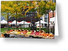 The Fall Harvest Is In Kendall Square Farmers Market Foliage Greeting Card