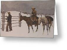 The Fall Of The Cowboy Greeting Card by Frederic Remington