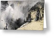 The Falling Flakes Mountain Scene. Yosemite A Mountain Snowfall Greeting Card