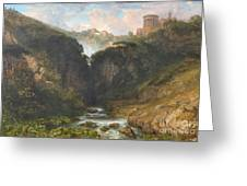 The Falls Of Tivoli With The Temple Of Vesta  Greeting Card