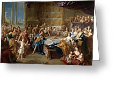 The Feast Of Dido And Aeneas. An Allegorical Portrait Of The Family Of The Duc And Duchesse Du Maine Greeting Card