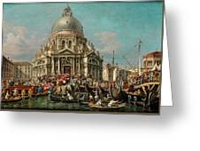 The Feast Of The Madonna Della Salute In Venice Greeting Card