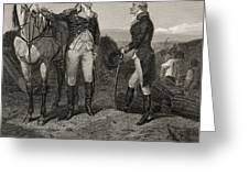 The First Meeting Of George Washington And Alexander Hamilton Greeting Card