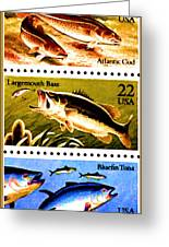 The Fish Stamps Greeting Card by Lanjee Chee