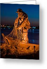 The Fisherman After Nightfall Greeting Card