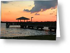 The Fishing Dock At Sunset Greeting Card