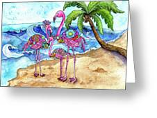The Flamingo Family's Day At The Beach Greeting Card