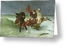 The Flight Of Gradlon Mawr Greeting Card by Evariste Vital Luminais