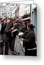 The Flower Seller Greeting Card by Lori  Secouler-Beaudry