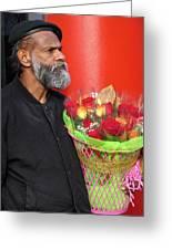 The Flower Vendor - Man Selling Roses Greeting Card