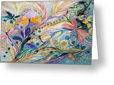The Flowers And Dragonflies Greeting Card