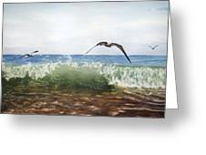 The Flying Instant Of Surf Greeting Card
