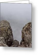 The Fog Through The Rocks Greeting Card