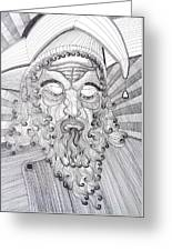 The Fool The King Original Black And White Pen Art By Rune Larsen Greeting Card