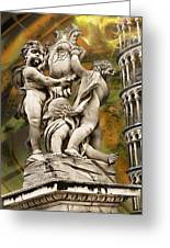 The Fountain With Angels Pisa - La Fontana Dei Greeting Card