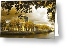 The Four Courts In Reconstruction Sepia Greeting Card