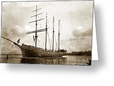 The Four-masted Barkentine  Jane Stanford Built By Hans Bendixse 1892 Greeting Card