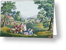 The Four Seasons Of Life Childhood Greeting Card by Currier and Ives