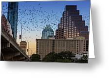 The Frost Bank Tower Stands Guard As 1.5 Million Mexican Free-tail Bats Overtake The Austin Skyline As They Exit The Congress Avenue Bridge Greeting Card