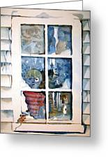 The Frosty Peep Hole Greeting Card by Mindy Newman