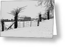 The Frozen Gate Black And White Greeting Card