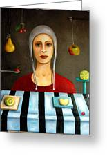 The Fruit Collector Greeting Card by Leah Saulnier The Painting Maniac