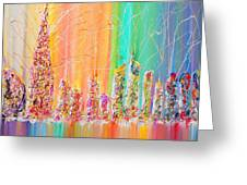 The Future City Abstract Painting  Greeting Card by Julia Apostolova