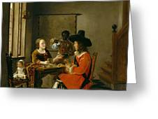 The Game Of Cards Greeting Card by Hendrik van der Burch