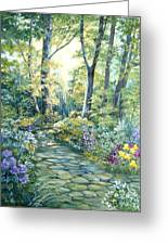 The Garden Left Side Of Triptych Greeting Card