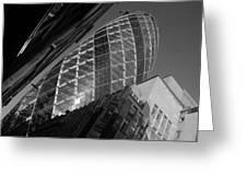 The Gherkin Black And White Greeting Card
