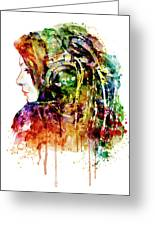 The Girl Is A Dj Greeting Card