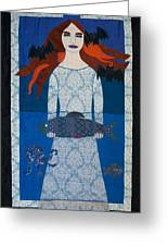 The Girl With Bats And Fish Greeting Card