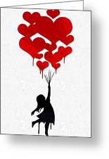 The Girl With The Red Balloons Greeting Card